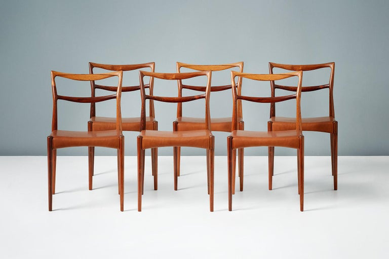 Henry W. Klein Set of 6 Rosewood Dining Chairs, circa 1960s In Good Condition For Sale In London, GB