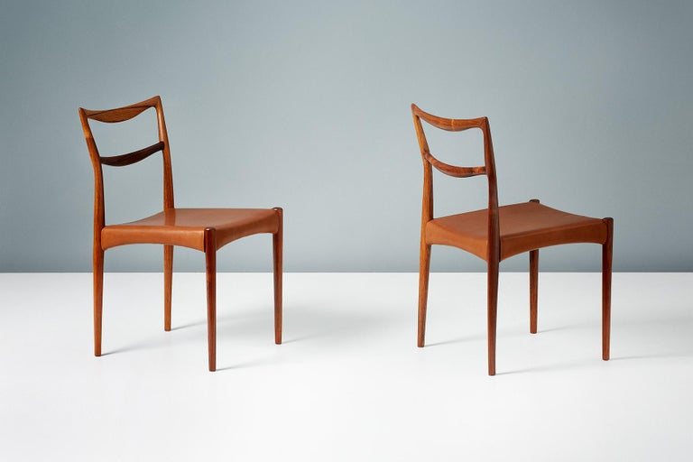 Leather Henry W. Klein Set of 6 Rosewood Dining Chairs, circa 1960s For Sale