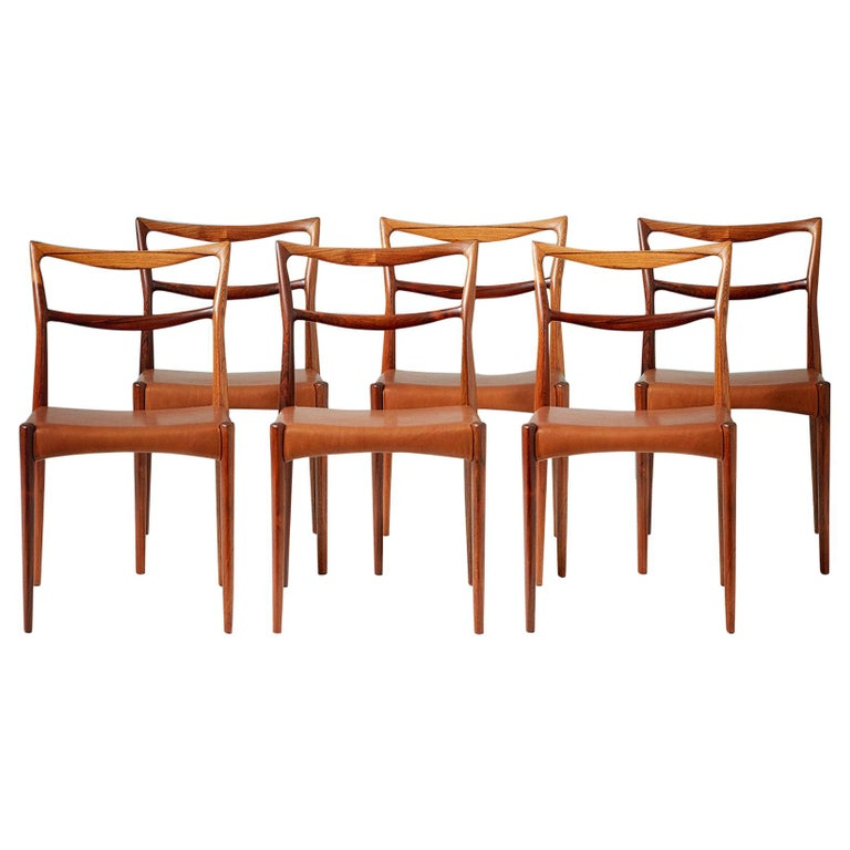 Henry W. Klein Set of 6 Rosewood Dining Chairs, circa 1960s For Sale
