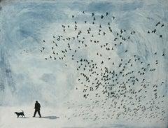 Eluere I, contemporary landscape painting, birds flying