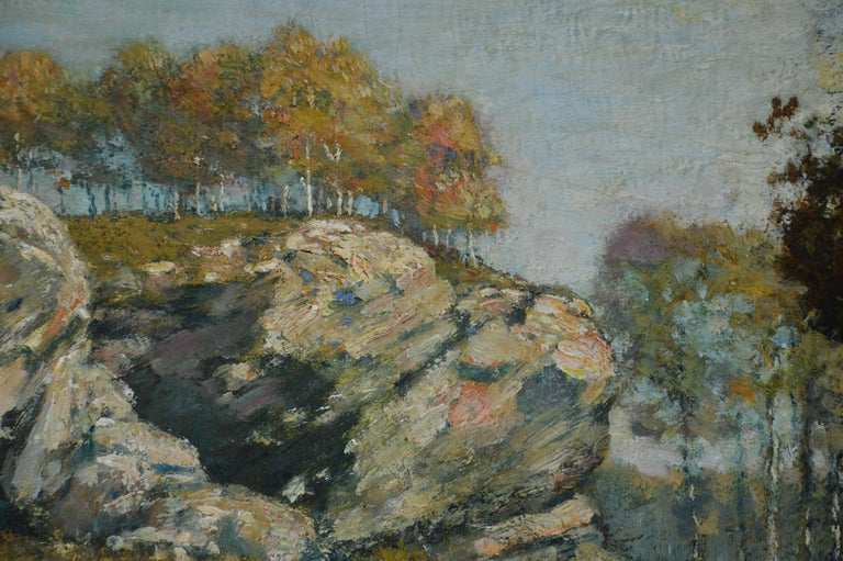 Painting depicting a landscape by Henry Ward Ranger. Ranger was important in the tonalist movement.
