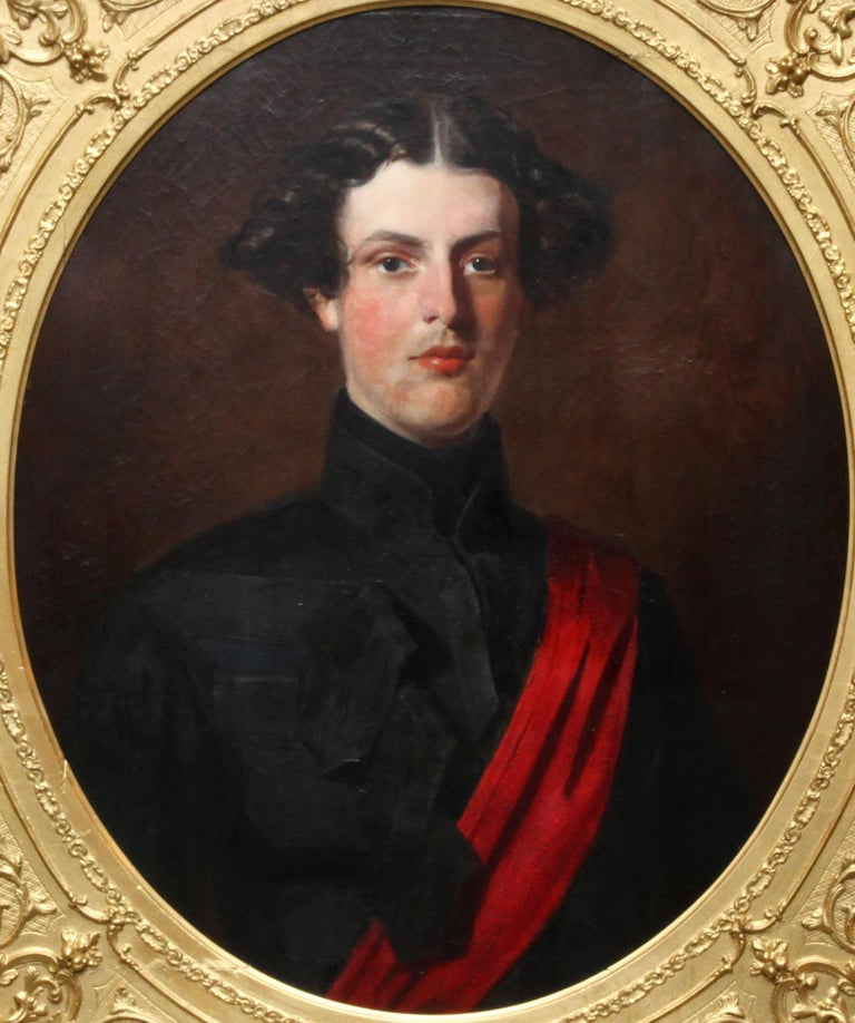 Military Portrait of Hon Edward Brownlow - British 19th century art oil painting For Sale 6