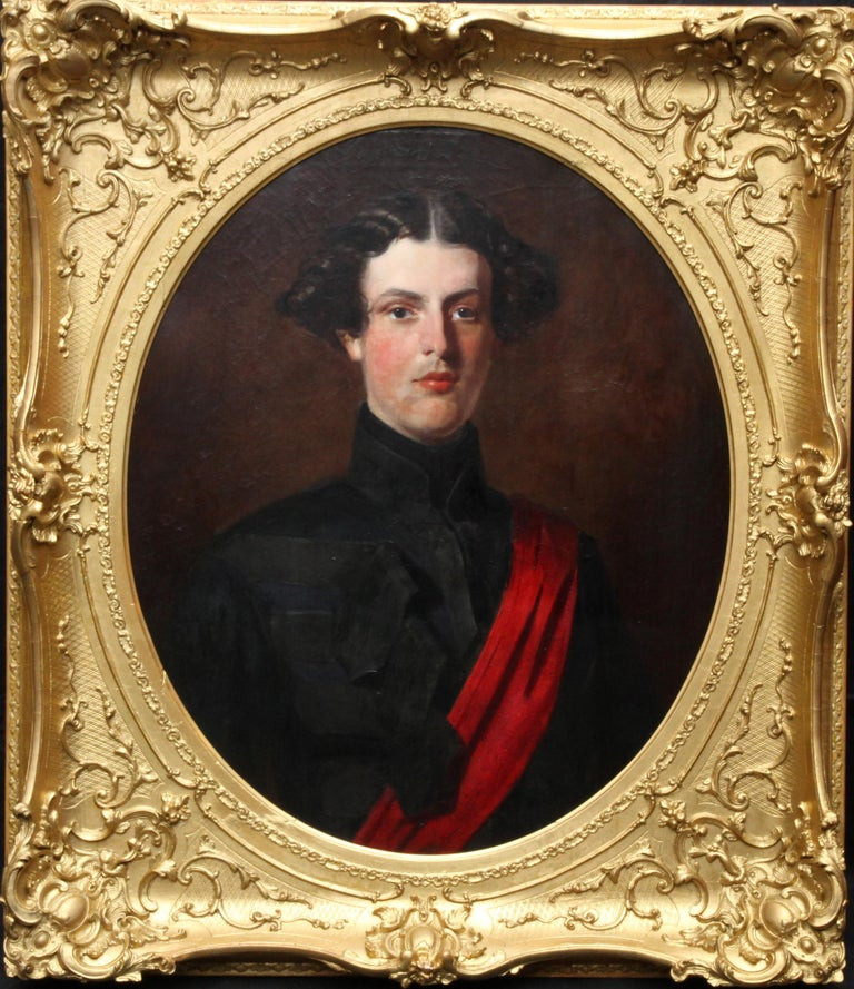 Military Portrait of Hon Edward Brownlow - British 19th century art oil painting For Sale 7