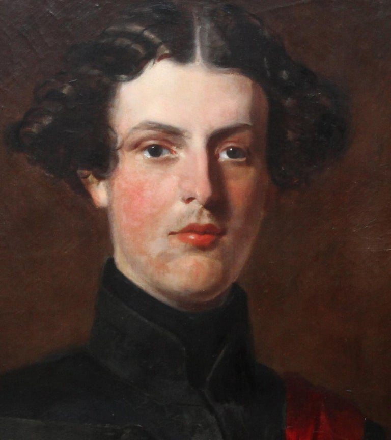 This stunning military portrait oil painting is by noted British portrait artist Henry Weigall, painted circa 1880. The sitter is the Honourable Edward Brownlow as inscribed verso. His military uniform of a black tunic and red sash needs more