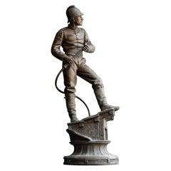 """Henry Weiss """"The Lance Door"""" Spelter Statue"""