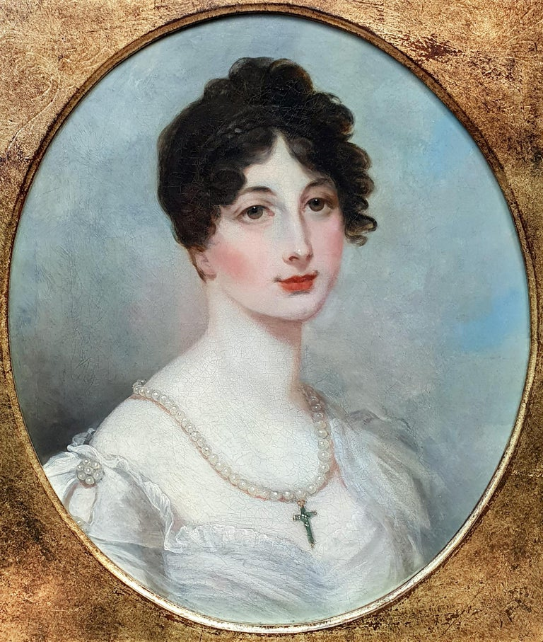 Portrait of a Lady in White Dress with Pearl Jewellery, Follower of Henry Whatt - Old Masters Painting by Henry Wyatt