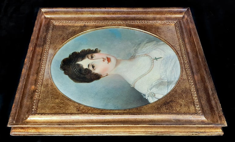 Portrait of a Lady in White Dress with Pearl Jewellery, Follower of Henry Whatt - Brown Portrait Painting by Henry Wyatt
