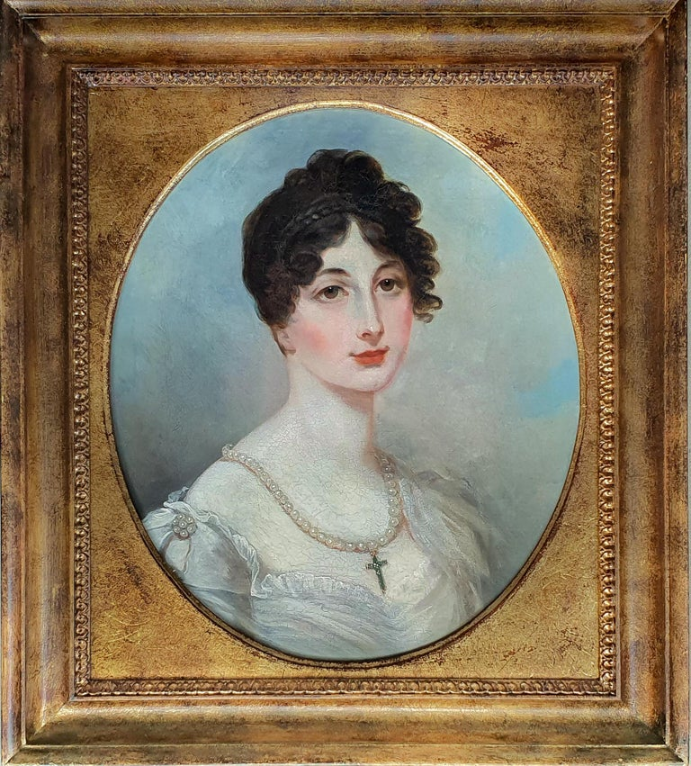 Henry Wyatt Portrait Painting - Portrait of a Lady in White Dress with Pearl Jewellery, Follower of Henry Whatt