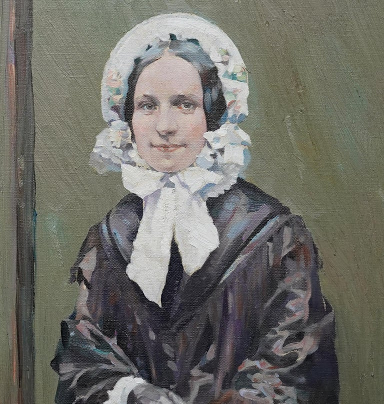 Portrait of Ruby - Scottish Colourist 1920's art female portrait oil painting  - Gray Portrait Painting by Henry Young Alison