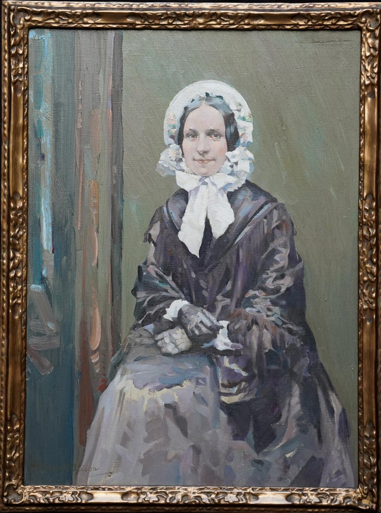 Henry Young Alison Portrait Painting - Portrait of Ruby - Scottish Colourist 1920's art female portrait oil painting