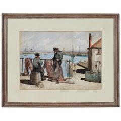 Henry George Gawthorn Fishermen Newlyn Cornwall Great Western Railway watercolor