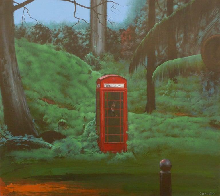 Silent call - figurative painting - Surrealist Painting by Henryk Laskowski