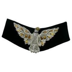 Henryks Bijoux Vienne Jewelled Eagle Black Suede Wide Belt