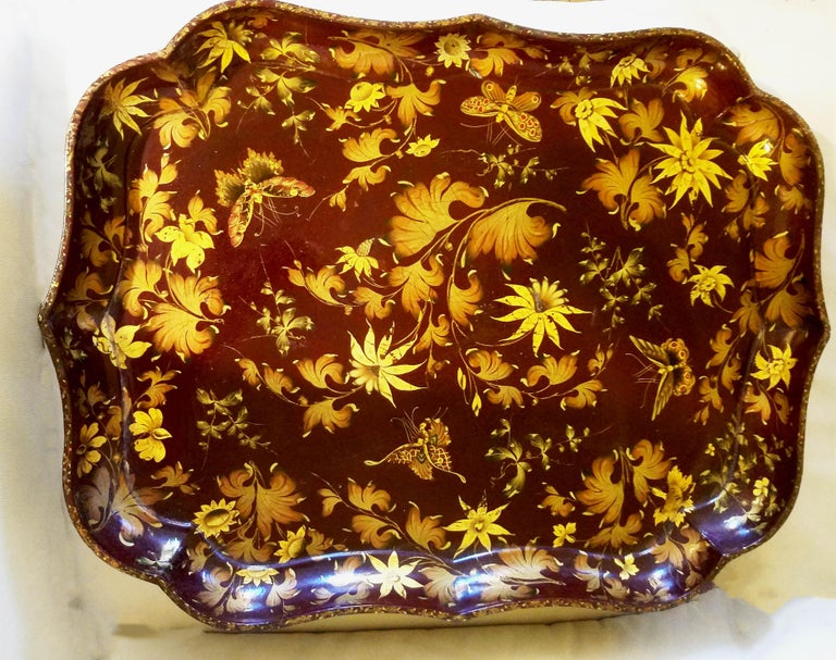 English Hent Clay Papier Mâché Lacquered Tray and Base For Sale
