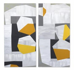 Low Yellow Moon (diptych)  - Cubist Abstract Original Artwork