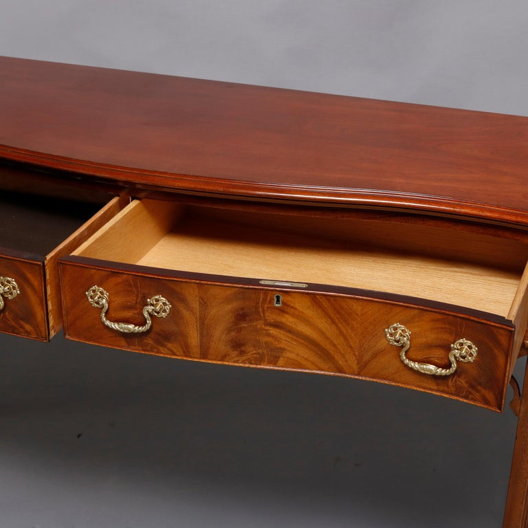 Hand-Crafted Hepplewhite Councill Craftsmen Flame Mahogany Serpentine 2-Drawer Server For Sale