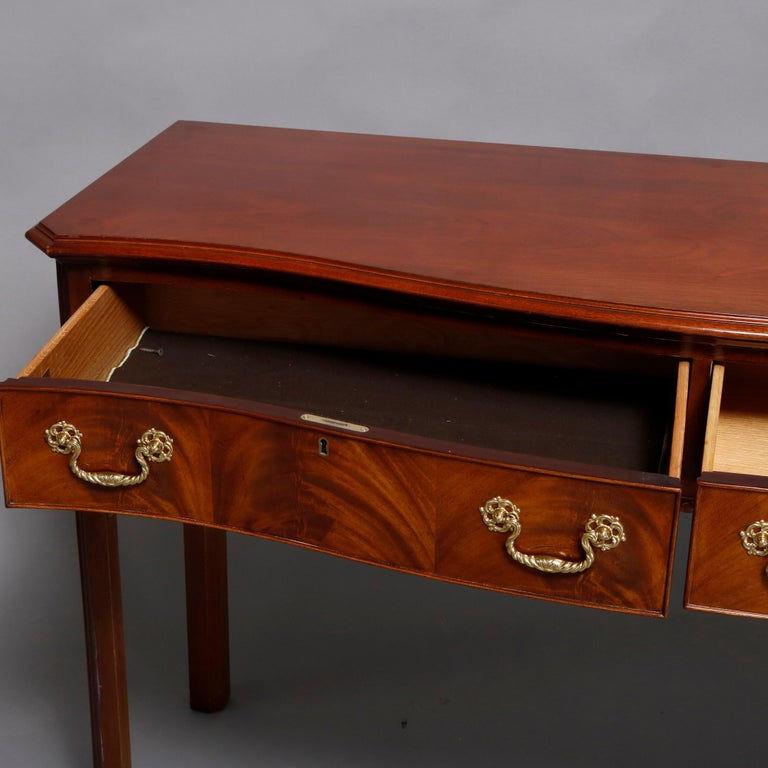 Hepplewhite Councill Craftsmen Flame Mahogany Serpentine 2-Drawer Server In Good Condition For Sale In Big Flats, NY