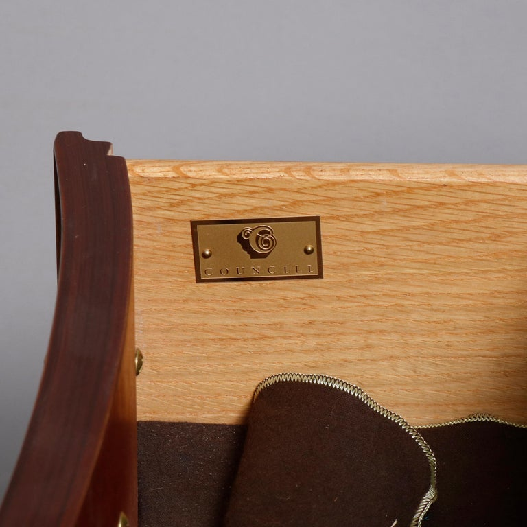 20th Century Hepplewhite Councill Craftsmen Flame Mahogany Serpentine 2-Drawer Server For Sale