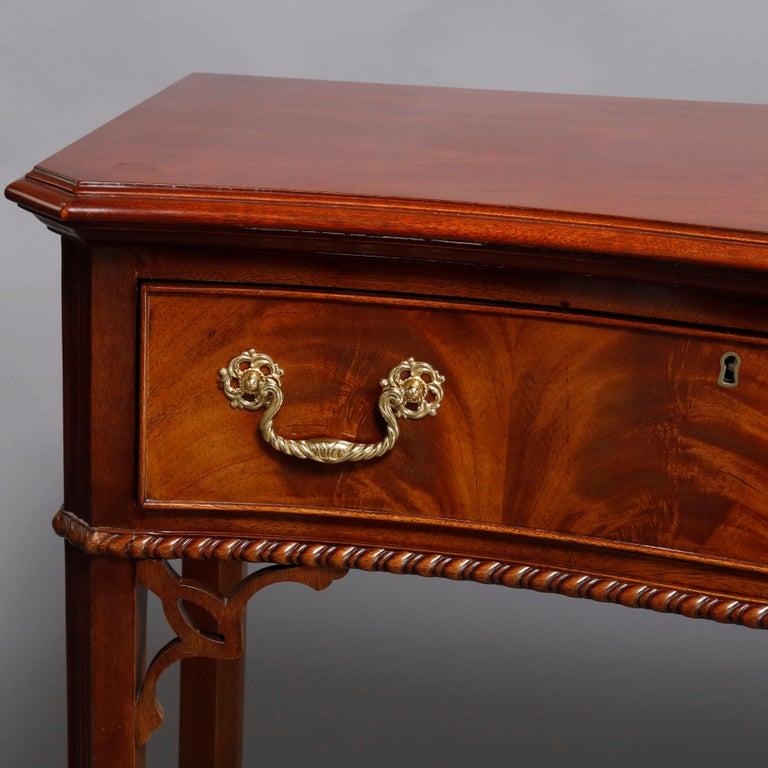 Hepplewhite Councill Craftsmen Flame Mahogany Serpentine 2-Drawer Server For Sale 1