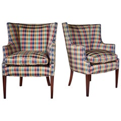 Hepplewhite Curved Wingback Chairs, Pair