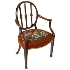Hepplewhite Design Mahogany Elbow Chair, 19th Century