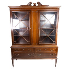 Hepplewhite Glass Cabinet with Brass Handles and of Mahogany, 1930s