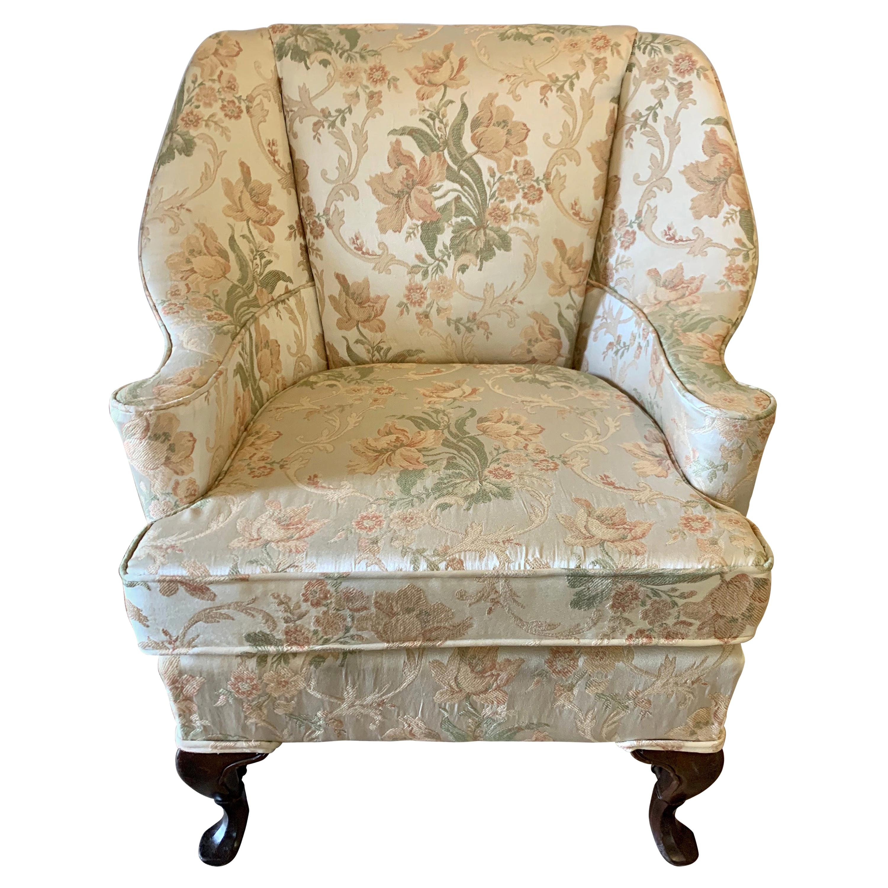 Hepplewhite Grand Wingback Armchair Newly Upholstered in Scalamandre Fabric