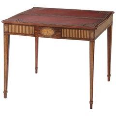 Hepplewhite Mahogany Leather Top Game Table