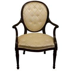 Hepplewhite Period Upholstered Mahogany Elbow Chair