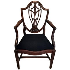 Hepplewhite Style Chair King 'Antique Master' in Mahogany and Black Velvet