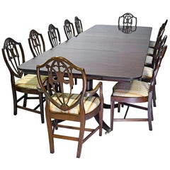 Hepplewhite-Style Dining Set in Mahogany, 12' Long Table and Set of 12 Chairs