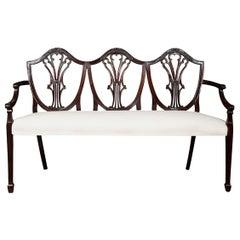 Hepplewhite Style Mahogany Shield Back Settee