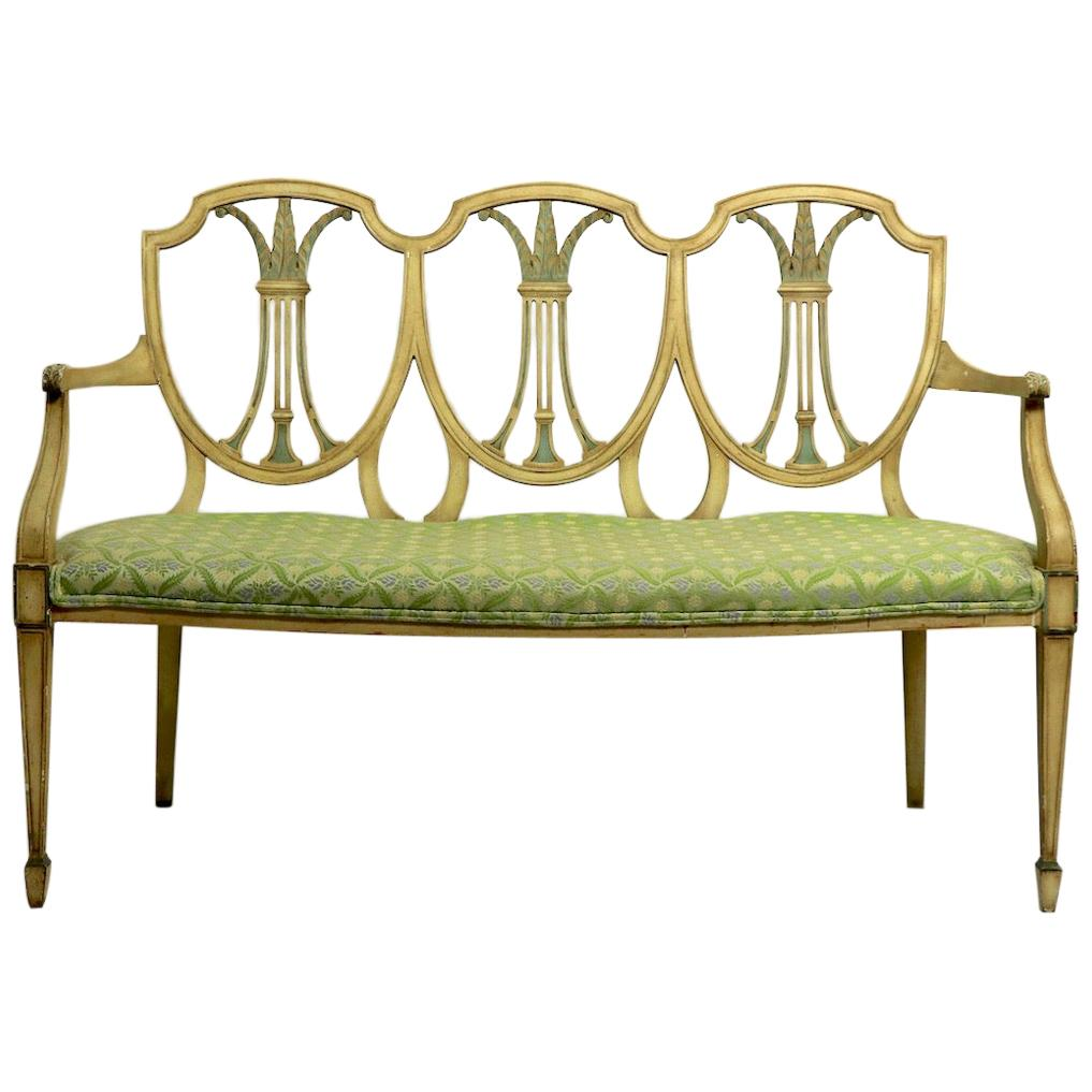 Hepplewhite Style Settee in Decorative Paint Finish