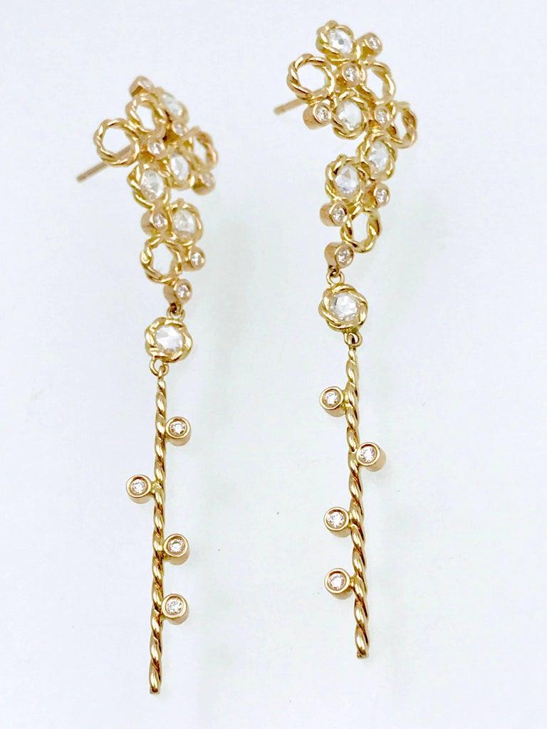 Contemporary Hera 18k Rose Gold JeweLyrie Signature Twist Set Rose-Cut Diamond Post Earrings  For Sale