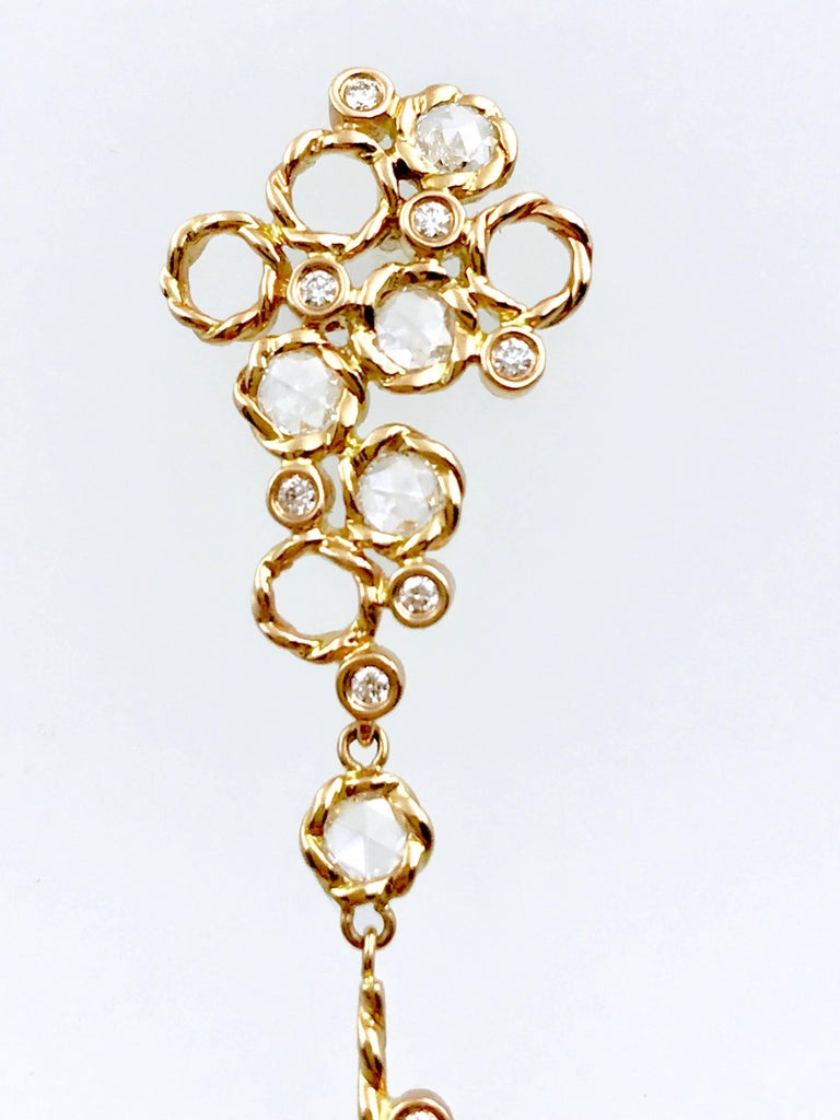 Rose Cut Hera 18k Rose Gold JeweLyrie Signature Twist Set Rose-Cut Diamond Post Earrings  For Sale