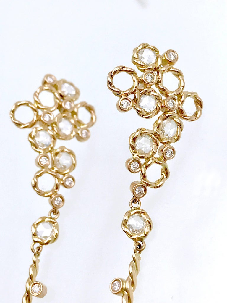 Hera 18k Rose Gold JeweLyrie Signature Twist Set Rose-Cut Diamond Post Earrings  In As New Condition For Sale In Paterson, NJ