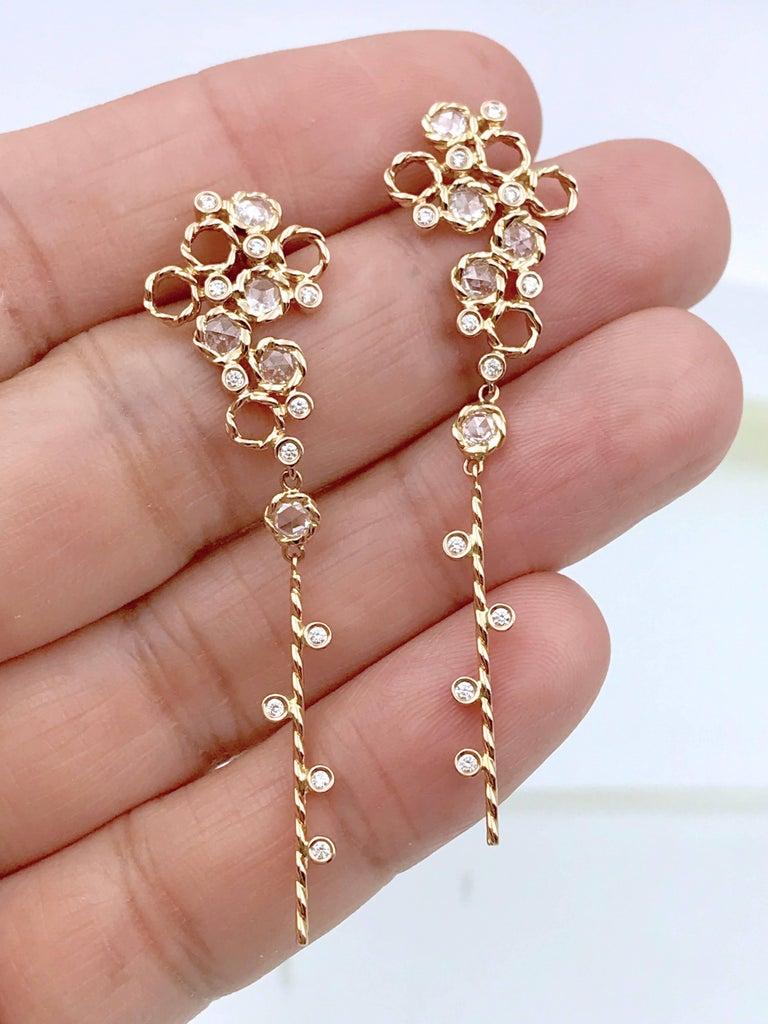 Women's Hera 18k Rose Gold JeweLyrie Signature Twist Set Rose-Cut Diamond Post Earrings  For Sale