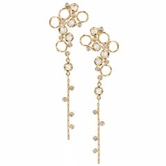 Hera 18k Rose Gold JeweLyrie Signature Twist Set Rose-Cut Diamond Post Earrings