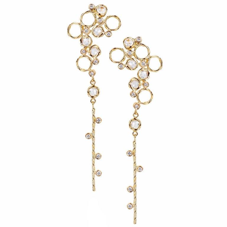 Hera 18k Rose Gold JeweLyrie Signature Twist Set Rose-Cut Diamond Post Earrings  For Sale