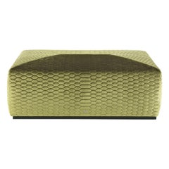 Hera Pouf in Green Velvet by Roberto Cavalli