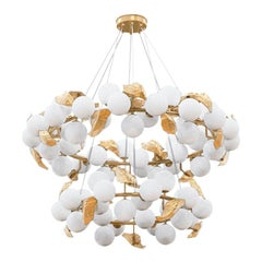 Hera Round II Suspension Lamp in Polished Brass and Frosted Glass