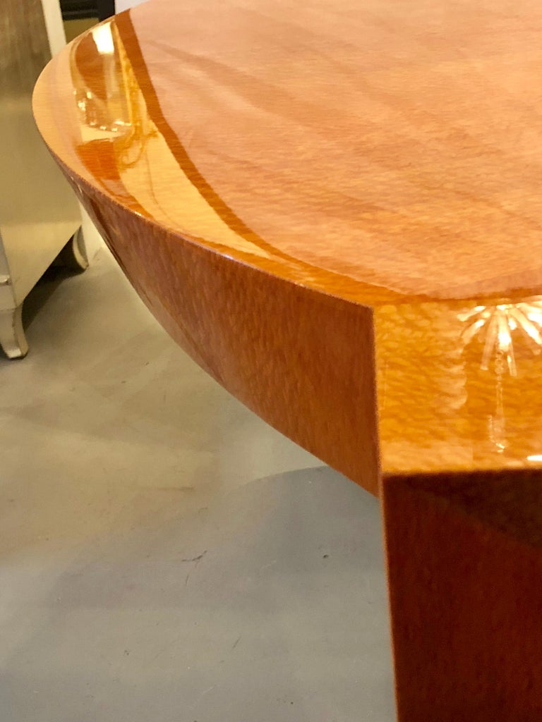 Heraldic Dakota Jackson Australian Lacewood Dining or Conference Table For Sale 4