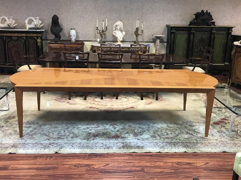 Mid-Century Modern Heraldic Dakota Jackson Australian Lacewood Dining or Conference Table For Sale