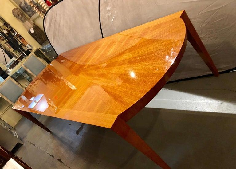 Wood Heraldic Dakota Jackson Australian Lacewood Dining or Conference Table For Sale