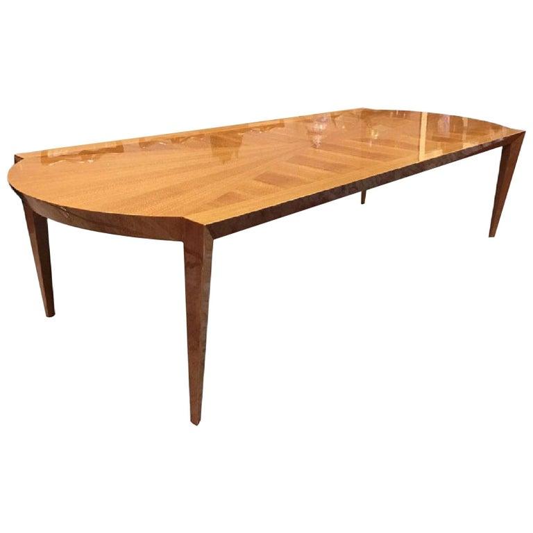 Heraldic Dakota Jackson Australian Lacewood Dining or Conference Table For Sale