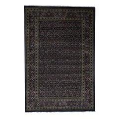 Herati Design Pure Wool Tabriz Mahi Hand Knotted Oriental Rug