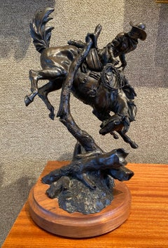 """'HUNG UP AND IN TROUBLE""""  COWBOY BRONC WESTERN BRONZE COWBOY ARTIST OF AMERICA"""