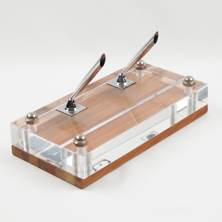 Herb Ritts Astrolite Collection Modern Lucite and Oak Desk Set Accessory, 9 Pc In Excellent Condition For Sale In Atlanta, GA