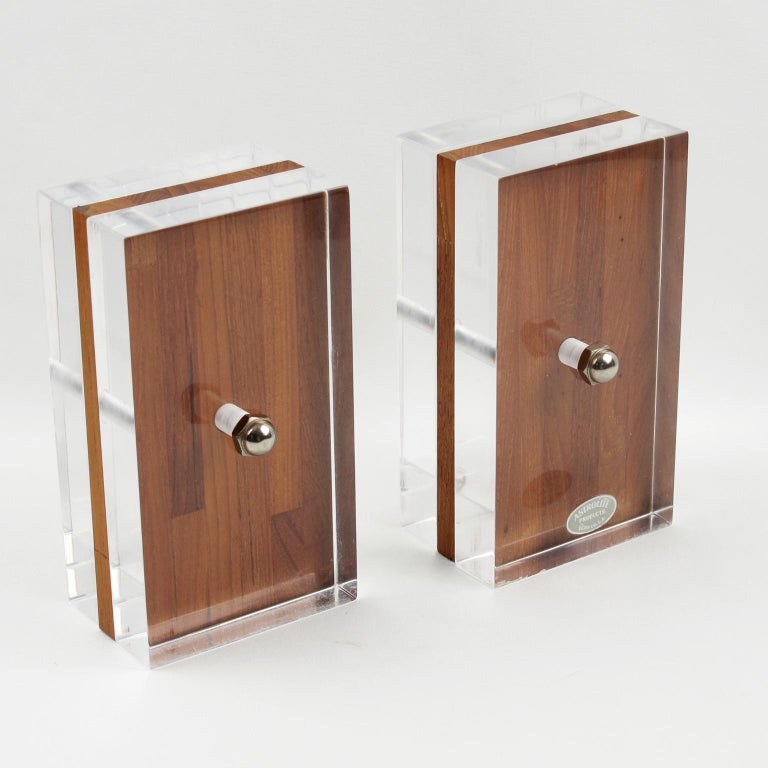 Late 20th Century Herb Ritts Astrolite Collection Modern Lucite and Oak Desk Set Accessory, 9 Pc For Sale