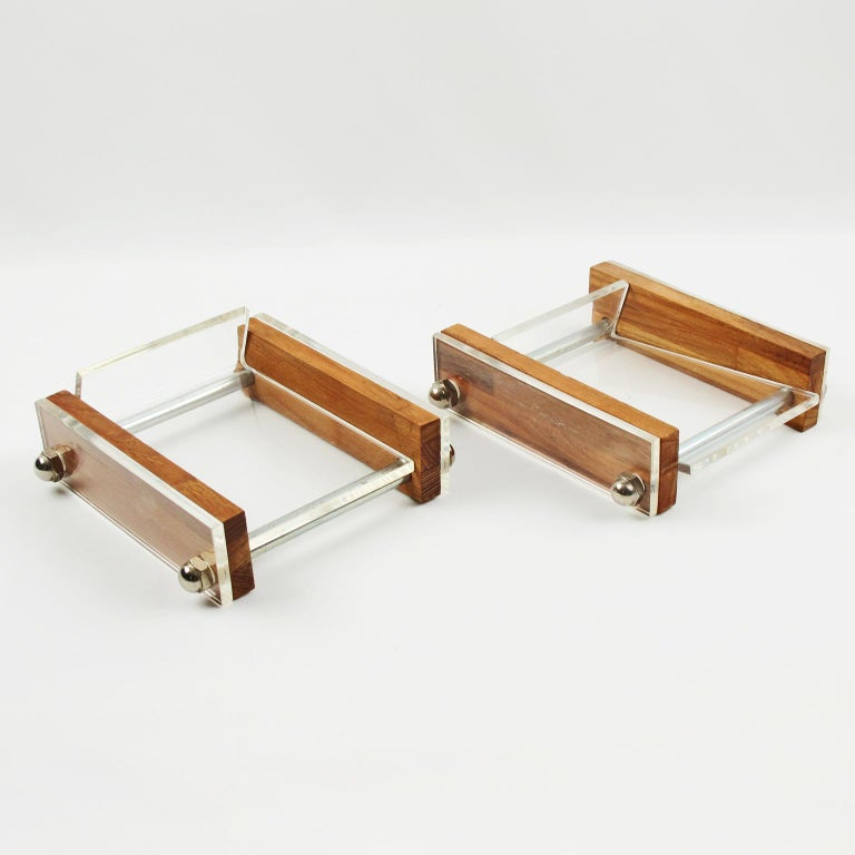 Herb Ritts Astrolite Collection Modern Lucite and Oak Desk Set Accessory, 9 Pc For Sale 1